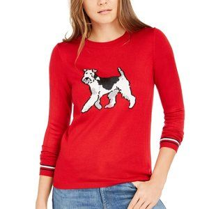 Tommy Hilfiger Holiday Terrier Red Sweater Large